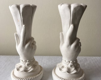 Vintage Mid Century Chalk Plaster Victorian Hand Candle Holders Candleholders