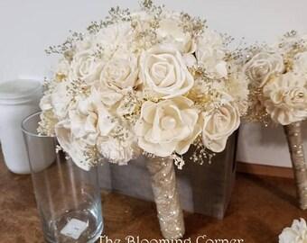 Sola ivory Bouquet,champagne bouquet, bride bouquet, winter bouquet,  keepsake Bouquet, Sola flowers, Wood bouquet, sola wood bouquet,