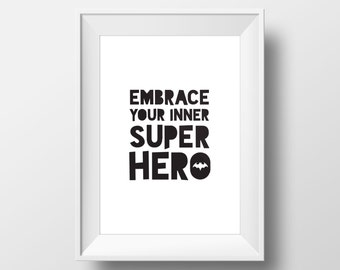 Batman Decal, Superhero Party, Batman Print, Superhero Birthday, Typography Print, Nursery Wall Art, Superhero Print, Quote Print