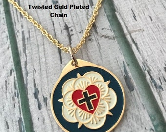 """LUTHER ROSE NECKLACE - 1"""" Metal Pendant with Gold Plated Chain - Luther Martin Seal Cross - Lutheran - Reformation - Confirmation"""