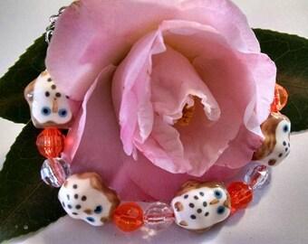 Glass Owls Bracelet/Orange and Clear Beads/BOHO Chic/Stackable Bracelet/Owl Lover/Friend Gift/Teen/Coworker/Wise Teacher/Secret Santa Gift