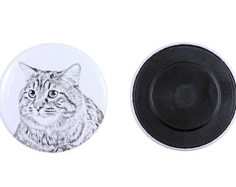 Magnet with a cat-  Kurilian Bobtail longhaired