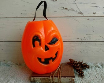 Winking Jack-O-Lantern Orange Decoration - Vintage Halloween Decor, Pumpkin Fall Plastic Art, Orange + Black Halloween or Pumpkin Decor