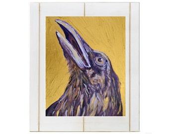 Gold and Purple Raven, Raven art, purple raven, gold art, gold print, raven print, raven art, Purple and Gold Raven Art Print