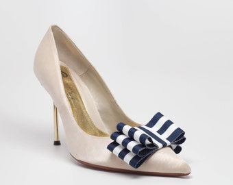 Nautical Stripes Navy and White Ribbon Bow Shoe Clips Set Of Two, More Colors Available