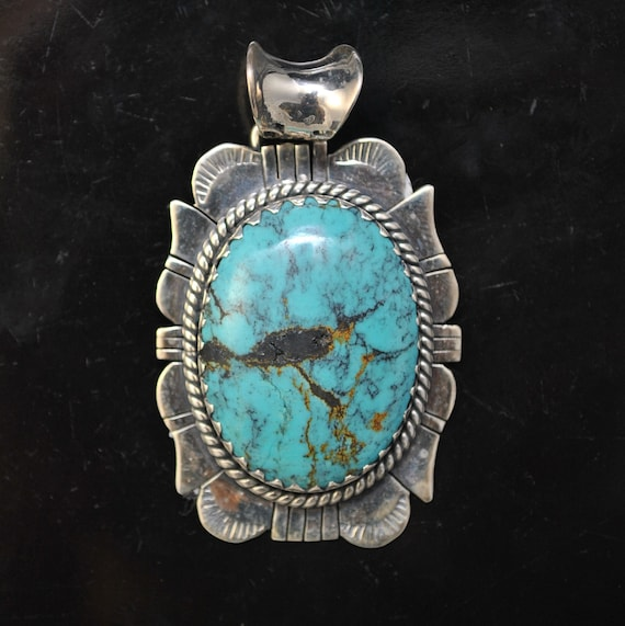 Sterling Silver Tibetan Turquoise Pendant Native American Style #9881