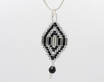 Hand made art deco inspired beaded pendant in silver and black seed and bugle beads