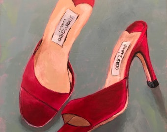 "SALE, Acrylic painting, pink shoes on ""6x6"" gessoed board (1/8"" thick)"