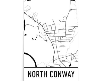 North Conway Map, North Conway Art, North Conway Print, North Conway NH Art Poster, North Conway Wall Art, Map of North Conway, Decor, Gift