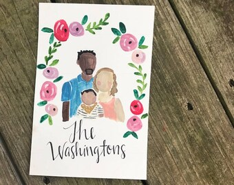 Custom Watercolor/Gouache Family Portrait