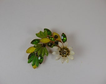 Vintage Enamel Green and White Flower Brooch with Amber and Green Rhinestones