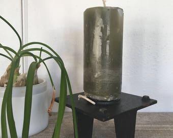 Mid Century Cast Iron Candleholder,  Danish Modern Cast Iron Candle holder, Pillar Candleholder