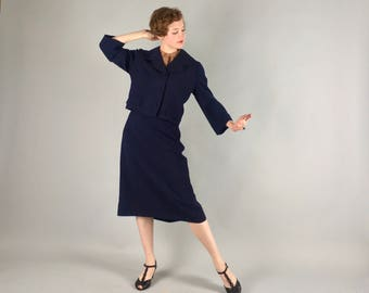 Vintage 1950s Suit   50s Wool Navy Blue Jacket and Skirt Set Volup   Large Extra Large XL