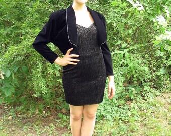 Upcycled Black Party Dress, Modern Size 6