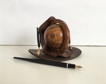 World - globe - vintage globe - small globe - harvest small world world - small globe land - Old globe