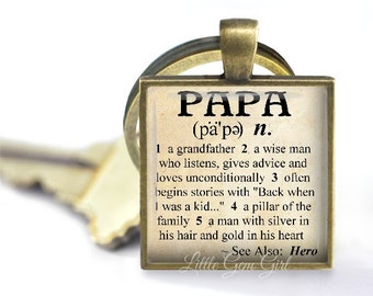 Papa Key Chain Papa Dictionary Definition Keychain - Fathers Day Key Chain - 5 Metal Finishes - Papa Quote Key Chain - Papa Gift Accessories