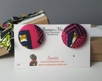 Pink and brown button earrings, Fabric earrings, Best friend gift, Sister gift, Mom gift, Girlfriend gift, Teacher gift, Wife gift, Gift her