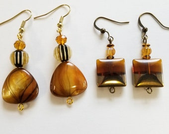 Choice of Style - Brown and Gold Beaded Dangle Pierced Earrings