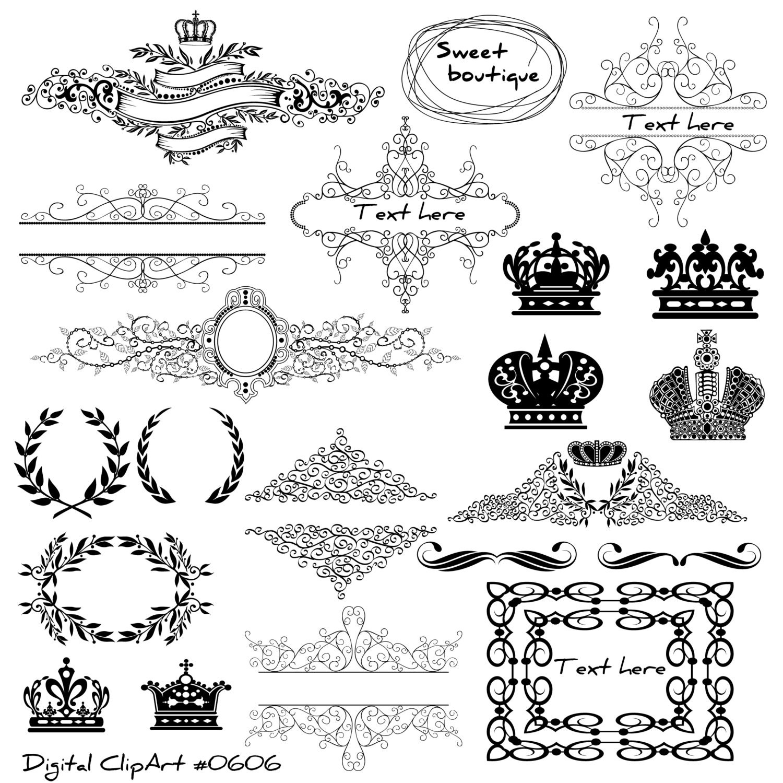 Black silhouette crowns digital clip art crown frames zoom jeuxipadfo Gallery