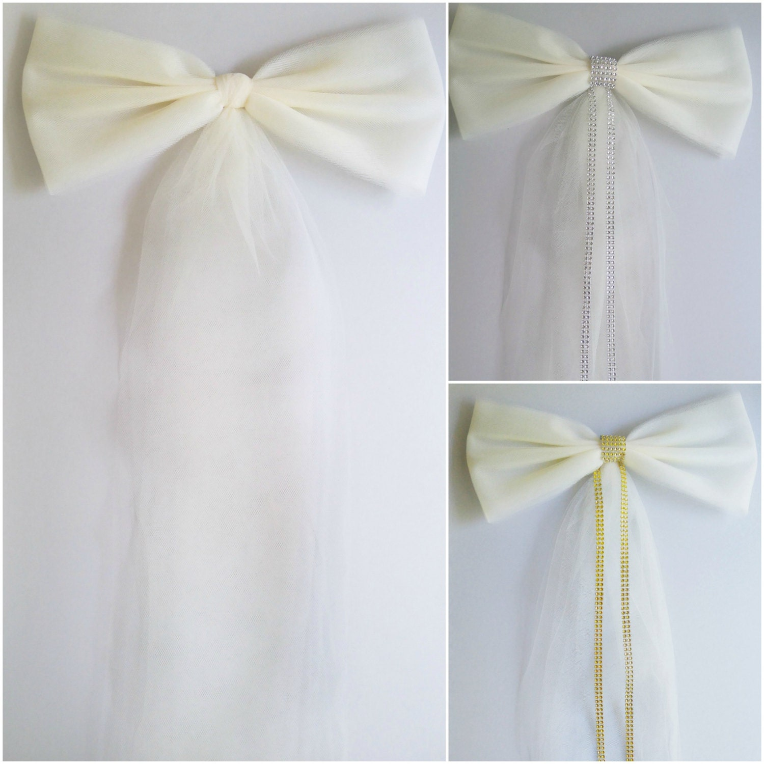 Ivory Tulle Bow Wedding Pew Bow Bridal Shower Bow Stair