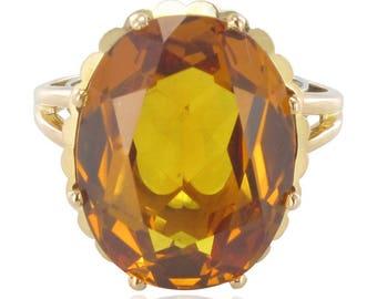 Gold Ring vintage citrine