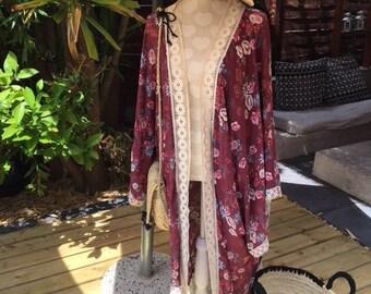 long kimono - viscose and lace - unique