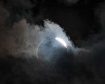 Total Solar Eclipse Photo, color photograph, black and white, fine photography print, Hole in the Sky