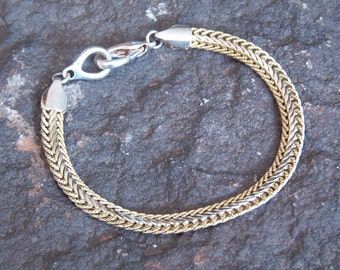 Bracelet, Vintage Silver and Gold Tone Chain Bracelet with Lobster Clasp Closure