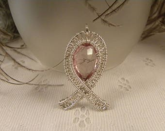Breast Cancer Awareness Pendant in Sterling Siliver Wire