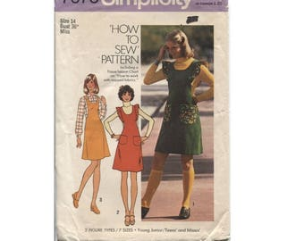 Vintage 70s Pattern - Jumper Dress with Ruffles  - Size 14 - Simplicity 7075 - Help Rescued Cats