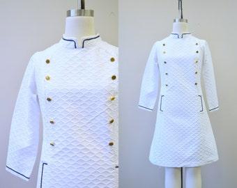 1960s Nautical White Mini Dress
