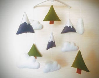 Nursery mobile Woodland mobile clouds mobile baby mobile baby room decor woodland nursery woodland nursery decor woodland baby decor mobiles