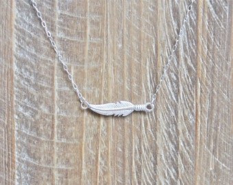 Sideways Feather Necklace.  Sterling silver necklace with horizontal feather.