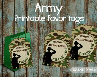 Army Favor Tags, Army Party Favor tags, Army Birthday, Army baby shower tags, Army party tags, Camouflage Favor tags, Camouflage gift tags