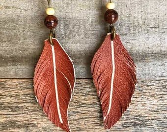 Leather earrings, Leather feather earrings, Leather feathers, Cowgirl jewelry, Bohemian jewelry, Boho chic earrings