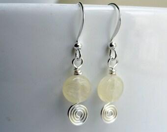 Yellow earrings - small lemon earrings - lemon earrings - lemon zest earrings - earrings under 10 - glass earrings - lemon bead earrings