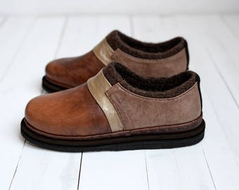 Wool leather shoes- felted shoes- brown shoes-natural material footwear-eco shoes-leather woman shoes-autumn shoes-minimalist shoes