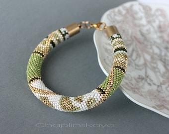 Bead crochet bracelet Green Beaded Bracelet