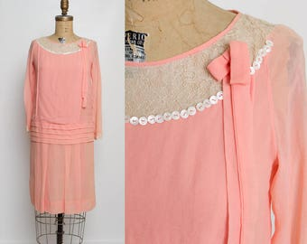vintage 1920s dress | peach flapper dress