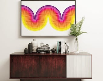 Apex - Featured in Mad Men Season 7 - Mod Curve Retro Vintage Inspired Op Art Print 60s 70s style in A1 or A2