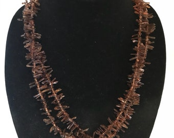 Long Double Strand Branch Amber Necklace