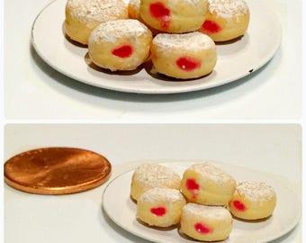 Dollhouse miniature food - miniature Hanukkah sufganiyot / jelly donuts