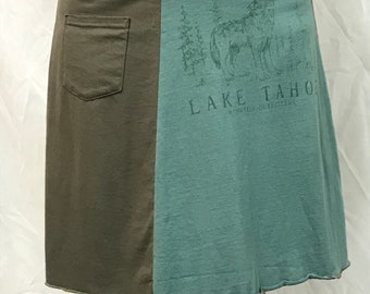 Original T-Skirt | Lake Tahoe upcycled recycled t-shirt skirt + pocket | Size L