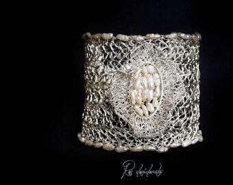 Cuff bracelet Bridal bracelet, Wire Crochet bracelet, Wide Lace cuff