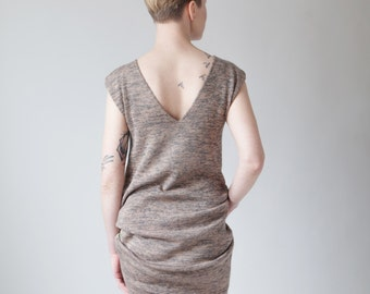 Drape back marl knit dress with kangaroo pocket - pink grey yellow V neck sleeveless midi dress