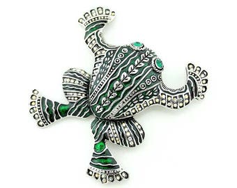 Emerald Aztec Frog Brooch, Green Rhinestone Inca Frog Broach, Emerald Green Frog Jewelry Component, Broach, DIY Craft Supply Embellishment