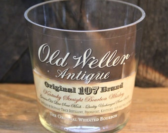 Empty Old Weller Bourbon Whiskey Bottle Cut and Sanded Bottle Recycled Candle Jar Whiskey Candle Glass Container Vase Lamp Craft Supplies