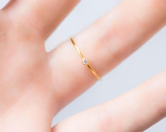 Gold Stacking Ring, Dainty Ring, Diamond Ring, Thin Gold Ring, Delicate RIng, Minimalist Ring, Cubic Zirconia Ring, Crystal Ring, Boho Ring