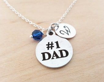 Number One Dad Charm Necklace -  Swarovski Birthstone - Custom Initial - Personalized Sterling Silver Necklace / Gift for Dad