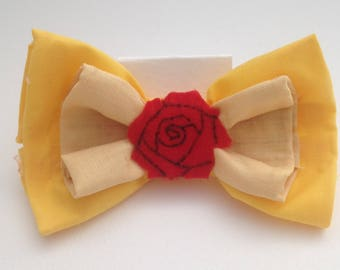 Belle Inspired Beauty and the Beast Hair bow, Fabric Hair bows, Bows for Women and Children, Costume and Cosplay Hairbows